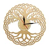 WANGZZZ Horloge Murale Moderne géométrie sacrée Chef-d'œuvre en Bois Antique Bio...