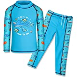 HUANQIUE HUANQIUE Boys Swimsuit UPF50+ UV Two Piece Protective Blue Long 4-5 Years