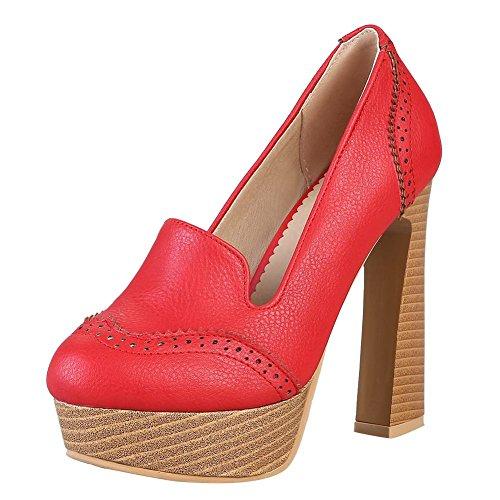 Mee Do Altos Saltos Planalto Tampão Senhoras Vermelho Sem Sapatos Bombas r8qrgC