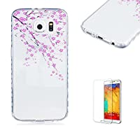 For Samsung Galaxy S6 Case [with Free Screen Protector].Funyye Crystal TPU Transparent Soft Shock Proof Fashionable Pattern Design Protective Cover Case For Samsung Galaxy S6-Peach blossom