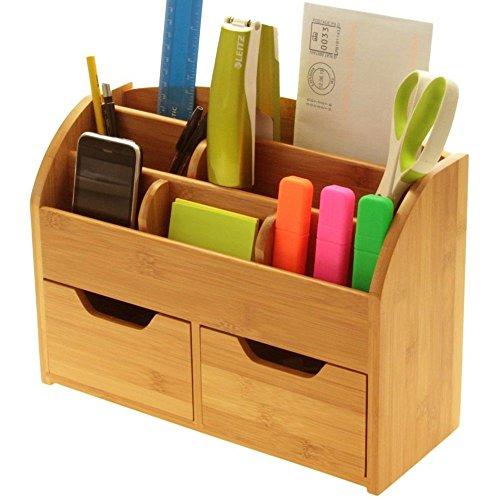 Scrivania cancelleria organizer box (o da parete) per scrivania, realizzato in bambù naturale
