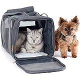 PiuPet® Katzentransportbox - Ideal für Katzen & kleine Hunde - Stabile Transporttasche mit großem Blickfeld - Transportbox Katze - Stilvolle Katzenbox mit herausnehmbarer Fleecematte