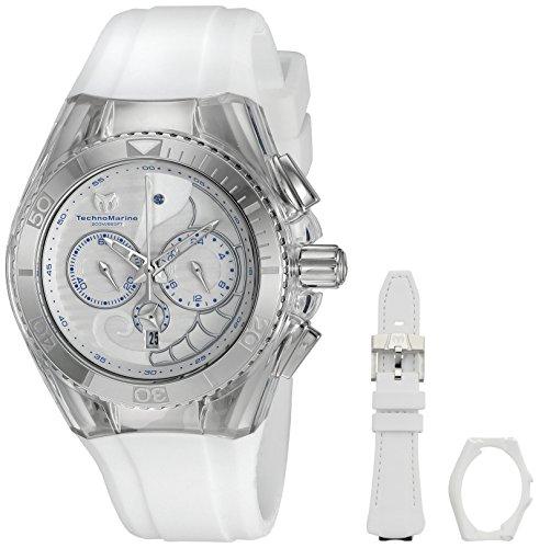 TechnoMarine TM-115006 Orologio da Polso, Display Display Cronografo, Unisex, Bracciale Silicone, Bianco