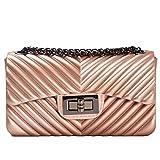 Neue Kleine Tasche Matt Jelly Bag Mini Matt Diamant Schloss Kette Tasche Mode Handtasche,RoseGold-OneSize