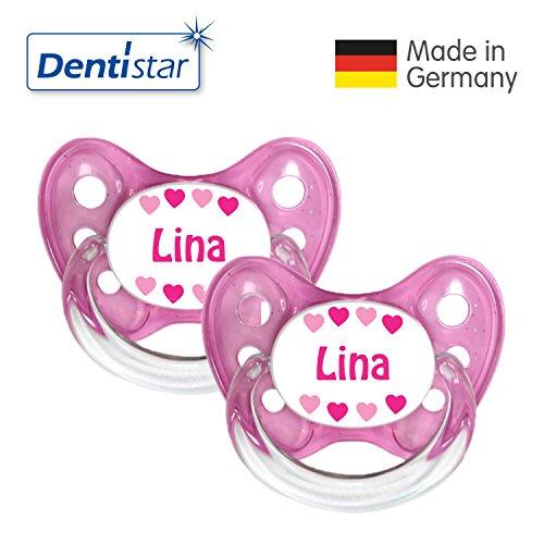 Preisvergleich Produktbild Dentistar® 2er Set Silikon-Schnuller - Größe 2, 6-14 Monate - Nuckel zahnfreundlich & weich ab dem ersten Zahn, Rosa Lina