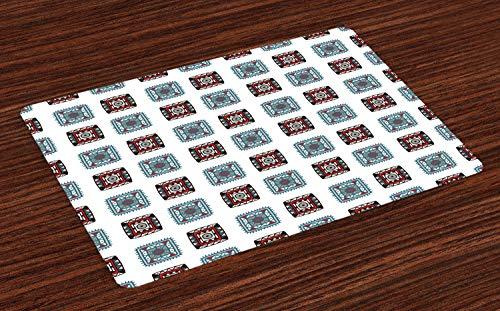 Stamm Quadratischen Form (ABAKUHAUS Batik Platzmatten, Geometrische quadratische Linien aztekische Stammes- Formen mit ethnischem Detail-Volksbatik-Bild, Tiscjdeco aus Farbfesten Stoff für das Esszimmer und Küch, Mehrfarbig)