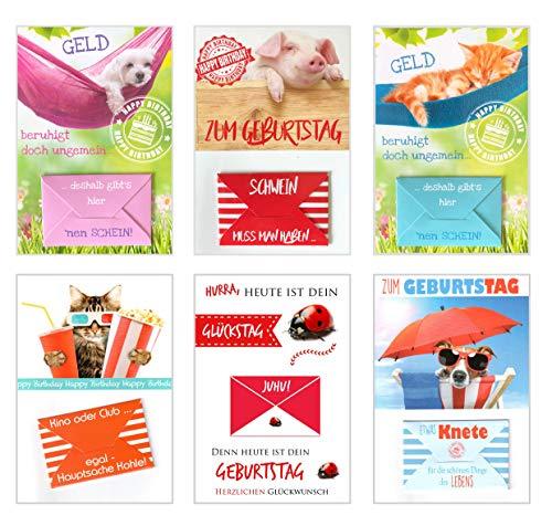 Edition Seidel Set 6 exklusive Premium Geldscheinkarten Geldkarten zum Geburtstag mit Umschlag. Glückwunschkarte Grusskarte Geburtstag Geburtstagskarte Karten Happy Birthday Geld