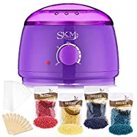 Wax Warmer Hair Removal Kit, SKM 500ML Professional Electric Wax Heater Pot Machine for Arms, Legs and Bikini Area, with 4 x 100G Flavor Hard Wax Beans and 10 Applicator Sticks