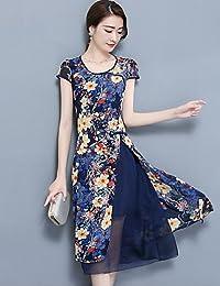 DESY Fodero Vestito da Donna-per Uscire Taglie Forti Moda Città Fantasia  Floreale Rotonda Medio 9d4ef86c972