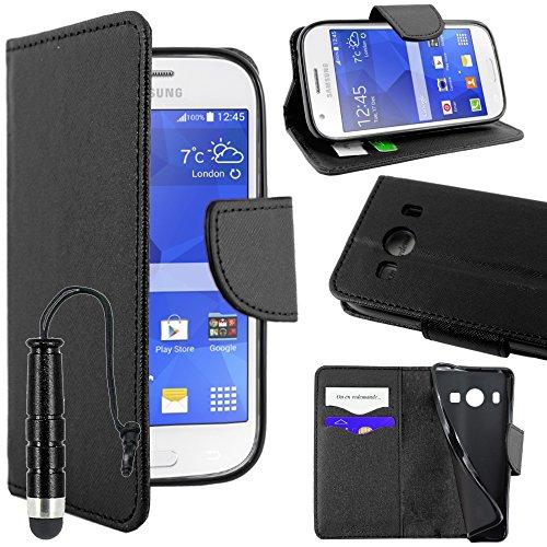 ebestStar - Compatibile Cover Samsung Ace 4 Galaxy SM-G357FZ Custodia Portafoglio Pelle PU Protezione Libro Flip + Mini Penna, Nero [Apparecchio: 121.4 x 62.9 x 10.8mm, 4.0'']
