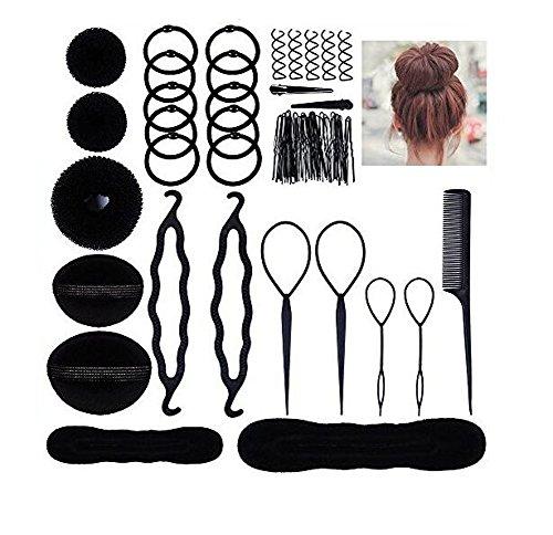 Lot de 10 Donut Bun Maker Mode Cheveux Design accessoire Coiffure pour femmes filles DIY Magic Cheveux Twist Styling Set
