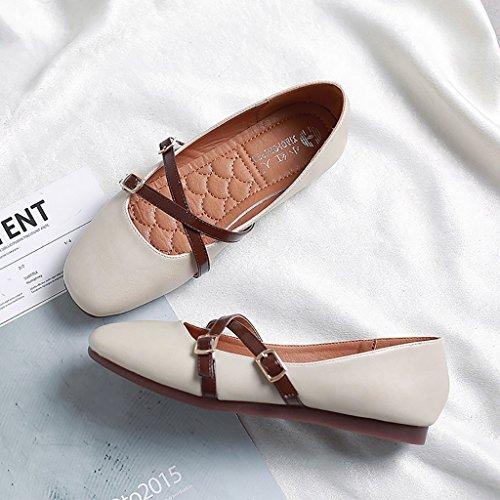 Retro Marie Jane Chaussures en cuir Étudiant élégante Ladies Fashion Flat Shoes Beige