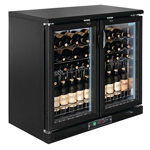 Polar Horizontal Wine Cooler Chiller commerciale frigo 56 bottiglie 2 glazed porte a battente