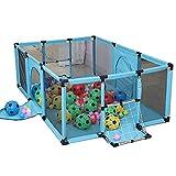 SPIELPLATZ Blauer Laufstall Mit Ball Und Matratze, Safety Toddlers Playard Mit Fußballtor, Klappbarer, Hellgrün, 120 × 180 × 62 cm