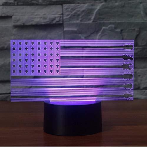 (Amerika Gitarre Flagge Modellierung Schreibtischlampe Nachtlicht Led Nacht Dekor Usb 7 Farben Ändern Baby Schlaf Beleuchtung)