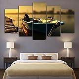 RALCAN Hd Gedruckt 5 Stück Leinwand Kunst Floating Fischerboot Gemälde Pier Wandbilder Wohnzimmer-30x40cmx2 30x60cmx2 30x80cmx1