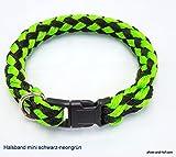 elropet Hundehalsband Mini für die Kleinen rundgeflochten Tauwerk schwarz-neongrün (25cm)