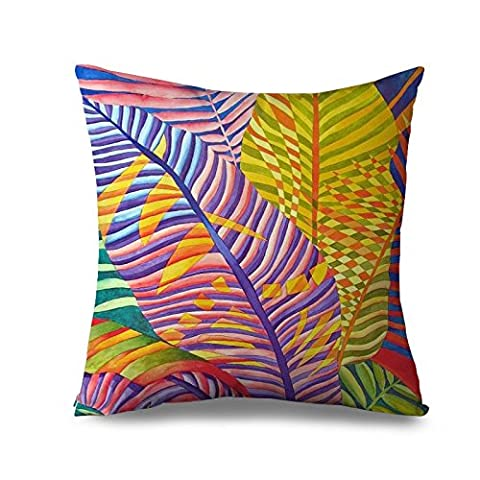Colorful Pillow Case Swaying Palm Tree Decorative Pillow Cover 18 x 18 Inch Square Canvas Accent Throw Cushion Cover for Bed Leaves Pillow Sham