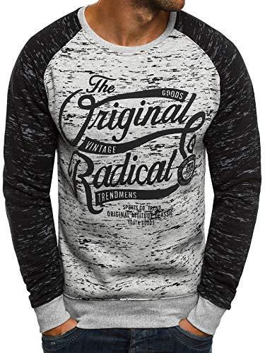 OZONEE Herren Sweatshirt Langarmshirt Sweatjacke Motiv Pullover Aufdruck Pulli J.Style DD11 XL GRAU