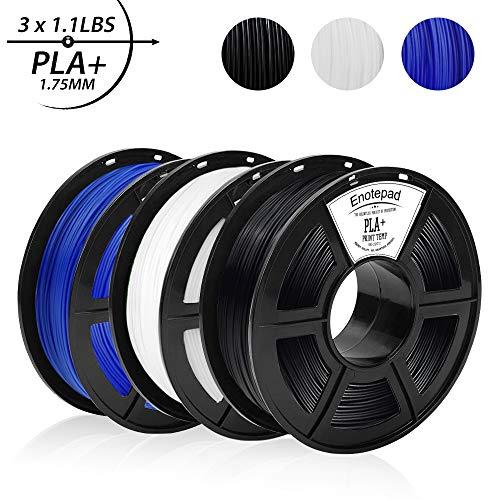 PLA+ 3D Printer Filament,PLA+ 1.75 mm,0.5KG*3 Spools(3.3lbs),Dimensional Accuracy +/- 0.02 mm,Filament 3D Printing Materials,Compatible with most 3D Printer/3D pen,Enotepad Black+White+Blue PLA+