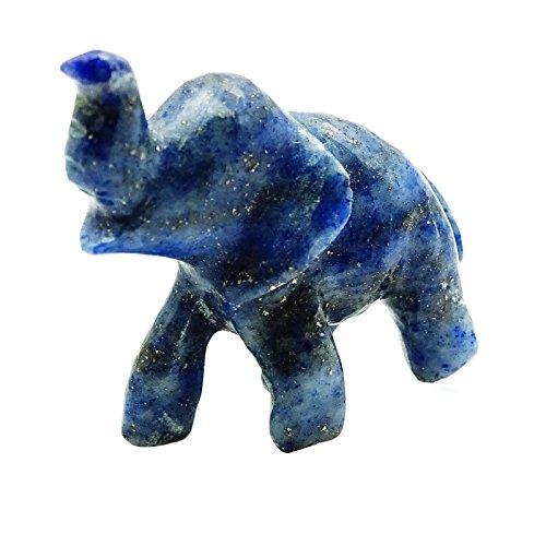 Lapislazzuli blu Harmonize labrada piccolo elefante curativo di pietra NEGRO Bolsa del regalo blu
