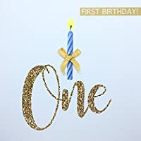 1st Birthday Card for Baby Boy, one Candle Hand Finished with a Gold Bow, First Birthday Card, 1 yr Old