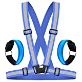 HEAWAA Premium Reflektierende Warnweste Sichtbarkeit Reflektierend Verstellbar Weste Sicherheit Hoher Reflektorbänder Gürtel Fahrrad REIT Reflektierende Weste Mit 2 Reflex Armband für Outdoor (Blau)