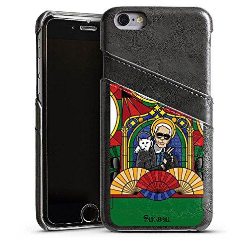 Apple iPhone 5 Housse étui coque protection Karl Lagerfeld Lunettes de soleil Chat Étui en cuir gris