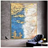 Abstract Light Blue and Golden on Canvas Water Style Abstract Gold Foil Painting -70x100cm No Frame