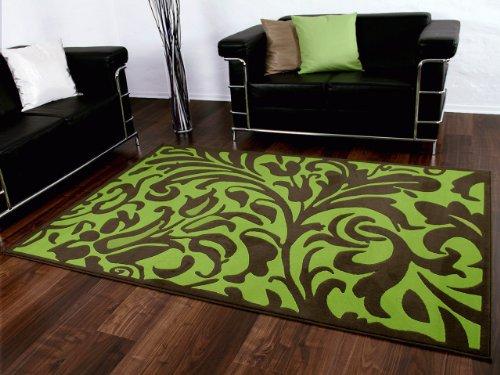 Passion Designer Teppich Braun Schoko Grün Barock Wellen in 4 Größen - Grün Und Braun-teppiche