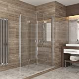 Dusche Duschkabine Falttür Echtglas Duschabtrennung Eckeinstieg Duschwanne 100x100