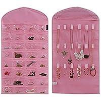 Supertech Bijoux la pendaison Organiseur Sac de rangement Double côtés 32 poches &18 hook-boucle onglets ménage Accessory titulaire le stockage sac,Rose