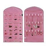 Supertech Schmuck hängend Organizer 32 Tasche 18 Haken Doppelseiten hängeaufbewahrung Platzsparende Haushalts Zubehör Halter,Pink
