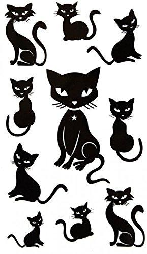 GRASHINE Wasserdicht schwarz tier gefälschte und realistische temporäre Tattoos sexy niedliche Kätzchen (Kätzchen Tattoo Temporäre)