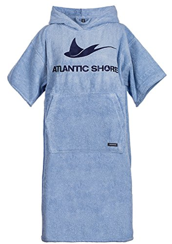 Atlantic Shore | Surf Poncho ➤ Bademantel / Umziehhilfe aus hochwertiger Baumwolle ➤ Light Blue - Middle