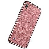 Herbests Custodia compatibile con Samsung Galaxy M10 Cover Case Brillantini Bling Paillettes Custodia Diamante a Strass TPU Silicone Bumper Case Slim Protettiva Antiurto Cover,Oro Rosa