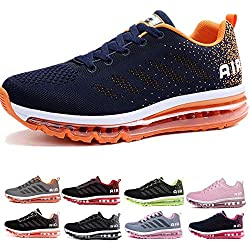 Homme Femme Air Baskets Chaussures Gym Fitness Sport Sneakers Style Running Multicolore Respirante Blue Orange 41