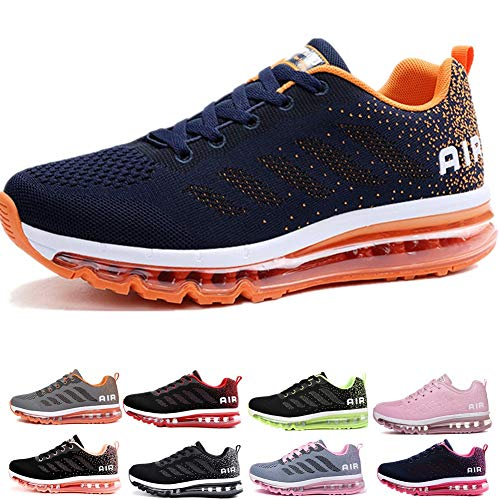 Uomo Donna Air Scarpe da Ginnastica Corsa Sportive Fitness Running Sneakers Basse Interior Casual all'Aperto Blue Orange 44 EU