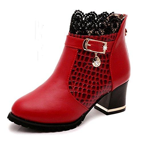 Largeshop Spitze Stiefeletten Damen Absatz Stiefel Kurzschaft Gefütterte Schuhe Wasserdicht Winter Boots Frauen