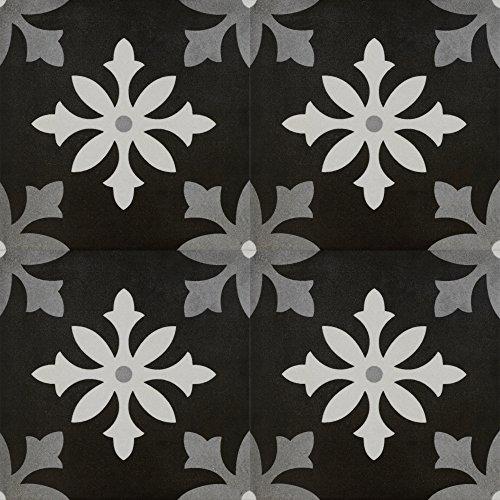 Zementfliesen Optik Gotik Tacca 22,3x22,3cm | Boden-Fliesen | Zement-Fliesen | Dekor | Fliesen-Bordüre | Ideal für den Wohnbereich (auch als Muster erhältlich) (Paket)