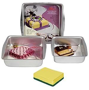 Rolex Square Cake Mould, Aluminium, Silver, 3 Pc Set + 1 Milton (Spotzero) Scrub Free