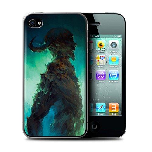 Offiziell Chris Cold Hülle / Case für Apple iPhone 4/4S / Ghouls der Furcht Muster / Dämonisches Tier Kollektion Gehörnter Dämon
