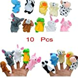 Puppet Toys - Cute Velvet Animal Farm Style Finger Puppets Set for Children, Shows, Playtime, and Schools - Novelty Educational Toys for Baby Story Time - 10 Animals Set By KARP