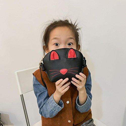 Borsa Donna Messenger Bag, Huihong Donna Sweet Cat Decorazione Shopper Tote Elagant Borsa Messenger In Pelle Pu Tote Mini Borsa Crossbody Nera