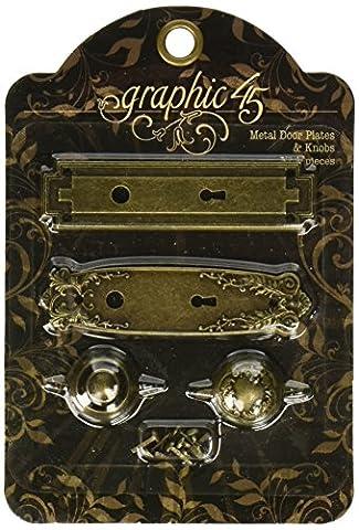 Graphic 45Plaques de serrures et boutons de porte en laiton vieilli