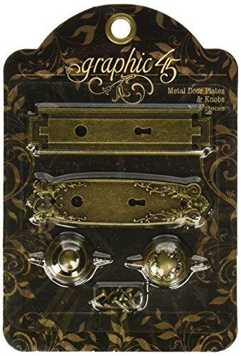 Graphic 45Antik Tür Teller und Knöpfe, Metall, Messing -