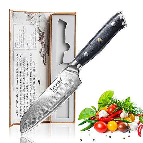 Sunnecko Santokumesser 5inch - Classic Serie Japanisches Kochmesser Damastmesser Santoku Messer Profi Küchenmesser für Küche