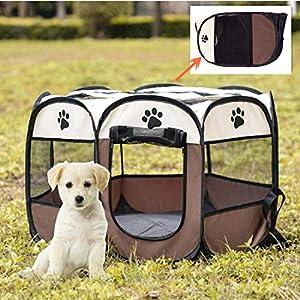 VICTORIE Pliant Pet House Play Tente Lit Chenil Étanche Portable Intérieur Extérieur pour Chiens Chats Chiot Brun 72x 72x 43cm