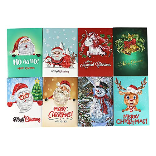 Jignag 3D Christmas Greeting Cards Envelope Handmade Canvas Rhinestone Painting 5D Mosaic Pictures Cross Stitch Greeting Card New Year Christmas Holiday Invatations Letter Gifts