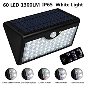 solar wandleuchte pluiesoelil 1300 lumen 60 led super helle wireless pir bewegungs sensor wand. Black Bedroom Furniture Sets. Home Design Ideas